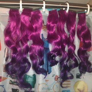 Pink to purple ombre hair extension set
